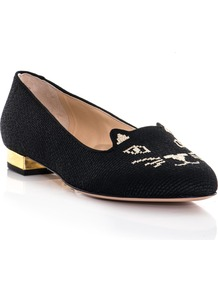 Embroidered Kitty Flats - predominant colour: black; occasions: casual, work; material: fabric; heel height: flat; embellishment: embroidered; toe: round toe; style: loafers; finish: plain; pattern: patterned/print