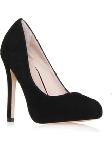 Amore - predominant colour: black; occasions: evening, work, occasion; material: suede; heel height: high; heel: stiletto; toe: round toe; style: courts; finish: plain; pattern: plain