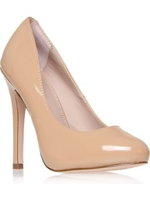 Amore - predominant colour: nude; occasions: evening, work, occasion; material: leather; heel height: high; heel: stiletto; toe: round toe; style: courts; finish: patent; pattern: plain