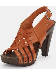 Landers Platform Sandals, Orange - predominant colour: terracotta; occasions: casual, evening, holiday; material: leather; heel height: high; embellishment: studs; heel: platform; toe: open toe/peeptoe; style: strappy; finish: plain; pattern: plain