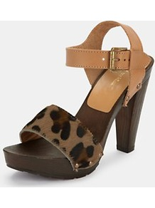 Lebrock Leopard Print Platform Sandals, Tan - predominant colour: camel; secondary colour: taupe; occasions: casual, evening, holiday; material: leather; heel height: high; ankle detail: ankle strap; heel: platform; toe: open toe/peeptoe; style: standard; finish: plain; pattern: animal print