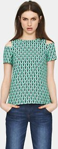 Printed Split Sleeve Top, Green - secondary colour: pink; predominant colour: mint green; occasions: casual, evening, holiday; length: standard; style: top; fibres: polyester/polyamide - stretch; fit: straight cut; neckline: crew; shoulder detail: cut out shoulder; sleeve length: short sleeve; sleeve style: standard; texture group: cotton feel fabrics; trends: modern geometrics; pattern type: fabric; pattern size: small &amp; busy; pattern: patterned/print