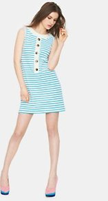 Striped Jersey Tunic, White - style: tunic; length: mid thigh; pattern: horizontal stripes; sleeve style: sleeveless; bust detail: buttons at bust (in middle at breastbone)/zip detail at bust; secondary colour: white; predominant colour: turquoise; occasions: casual, holiday; fit: body skimming; fibres: polyester/polyamide - stretch; neckline: crew; sleeve length: sleeveless; pattern type: fabric; pattern size: standard; texture group: jersey - stretchy/drapey