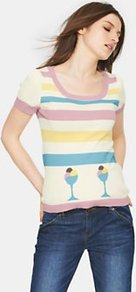 Icecream Knitted Jumper, Pink - neckline: scoop neck; pattern: horizontal stripes; style: standard; predominant colour: ivory; secondary colour: ivory; occasions: casual, holiday; length: standard; fibres: cotton - 100%; fit: standard fit; sleeve length: short sleeve; sleeve style: standard; texture group: knits/crochet; pattern type: knitted - fine stitch; pattern size: standard