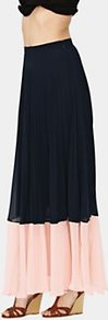 Pleated Maxi Skirt, Navy - fit: loose/voluminous; waist: mid/regular rise; secondary colour: blush; predominant colour: black; occasions: casual, evening, work, holiday; length: floor length; style: maxi skirt; fibres: polyester/polyamide - 100%; hip detail: soft pleats at hip/draping at hip/flared at hip; texture group: sheer fabrics/chiffon/organza etc.; pattern type: fabric; pattern size: standard; pattern: colourblock