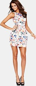 Floral Dress - style: shift; length: mini; fit: tight; sleeve style: sleeveless; predominant colour: white; secondary colour: navy; occasions: evening, occasion, holiday; fibres: cotton - stretch; neckline: crew; sleeve length: sleeveless; texture group: cotton feel fabrics; pattern type: fabric; pattern size: small &amp; busy; pattern: patterned/print