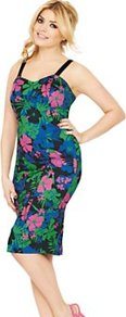 Tropical Print Pencil Dress, Black - style: shift; sleeve style: spaghetti straps; fit: tight; secondary colour: emerald green; predominant colour: black; occasions: evening; length: on the knee; neckline: scoop; fibres: cotton - stretch; sleeve length: sleeveless; texture group: jersey - clingy; trends: high impact florals; pattern type: fabric; pattern size: big &amp; busy; pattern: florals