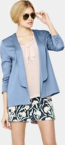 Forever Draped Blazer, Blue - pattern: plain; style: single breasted blazer; collar: shawl/waterfall; fit: loose; length: below the bottom; predominant colour: pale blue; occasions: casual, evening, occasion; fibres: viscose/rayon - 100%; sleeve length: 3/4 length; sleeve style: standard; texture group: structured shiny - satin/tafetta/silk etc.; collar break: low/open; pattern type: fabric