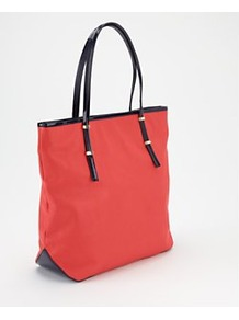 Polly Pop Shopper, Coral - predominant colour: coral; secondary colour: black; occasions: casual, work; type of pattern: light; style: tote; length: handle; size: standard; material: faux leather; finish: plain; pattern: colourblock