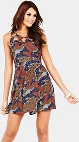 Feather Print Dress, Coral - length: mini; sleeve style: sleeveless; waist detail: fitted waist; secondary colour: navy; predominant colour: gold; occasions: casual, evening; fit: fitted at waist &amp; bust; style: fit &amp; flare; neckline: peep hole neckline; fibres: polyester/polyamide - stretch; hip detail: soft pleats at hip/draping at hip/flared at hip; sleeve length: sleeveless; pattern type: fabric; pattern size: big &amp; busy; pattern: patterned/print; texture group: jersey - stretchy/drapey