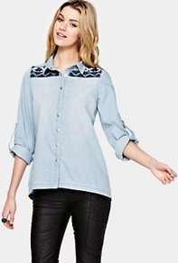 Denim Shirt - neckline: shirt collar/peter pan/zip with opening; length: below the bottom; style: shirt; shoulder detail: contrast pattern/fabric at shoulder; predominant colour: pale blue; occasions: casual; fibres: cotton - 100%; fit: loose; sleeve length: long sleeve; sleeve style: standard; texture group: denim; pattern type: fabric; pattern size: small & light; pattern: patterned/print; embellishment: embroidered