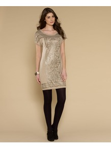 Seville Sequin Tunic Dress - style: tunic; length: mid thigh; sleeve style: capped; shoulder detail: contrast pattern/fabric at shoulder; predominant colour: gold; occasions: evening, occasion; fit: body skimming; neckline: scoop; fibres: cotton - 100%; bust detail: contrast pattern/fabric/detail at bust; sleeve length: short sleeve; texture group: knits/crochet; pattern type: knitted - other; pattern size: standard; pattern: patterned/print; embellishment: sequins