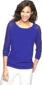 Mesh Sleeve Sweater - neckline: slash/boat neckline; sleeve style: raglan; pattern: plain; style: standard; predominant colour: royal blue; occasions: casual, work; length: standard; fibres: cotton - 100%; fit: standard fit; sleeve length: 3/4 length; texture group: knits/crochet; pattern type: knitted - fine stitch