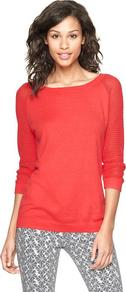 Mesh Sleeve Sweater - neckline: slash/boat neckline; pattern: plain; style: standard; predominant colour: coral; occasions: casual, work; length: standard; fibres: cotton - 100%; fit: standard fit; sleeve length: long sleeve; sleeve style: standard; texture group: knits/crochet; pattern type: knitted - fine stitch