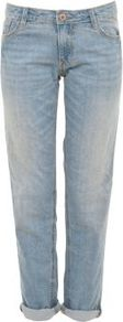 30in Light Blue Turn Up Boyfriend Jeans - style: boyfriend; pattern: plain; pocket detail: traditional 5 pocket; waist: mid/regular rise; predominant colour: pale blue; occasions: casual; length: ankle length; fibres: cotton - mix; jeans detail: shading down centre of thigh, washed/faded; jeans & bottoms detail: turn ups; texture group: denim; pattern type: fabric; pattern size: standard