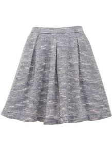 Blue Boucle Skater Skirt - length: mid thigh; pattern: plain; fit: loose/voluminous; waist: high rise; predominant colour: denim; occasions: casual; style: a-line; fibres: polyester/polyamide - 100%; hip detail: sculpting darts/pleats/seams at hip; pattern type: fabric; pattern size: standard; texture group: tweed - light/midweight