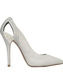 Gioia Cut Out Raffia Detail Court - predominant colour: light grey; occasions: evening, work, occasion; material: leather; heel height: high; heel: stiletto; toe: pointed toe; style: courts; finish: plain; pattern: plain