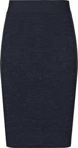 Nix Knitted Side Panel Skirt - pattern: plain; style: pencil; fit: tight; waist: high rise; predominant colour: navy; occasions: casual, evening, work; length: just above the knee; fibres: polyester/polyamide - stretch; hip detail: sculpting darts/pleats/seams at hip; texture group: jersey - clingy; pattern type: fabric; pattern size: small &amp; light
