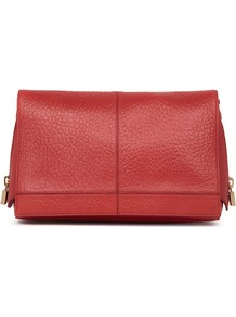 Mimi Cube Zip Detail Clutch - predominant colour: true red; occasions: casual, evening, occasion; type of pattern: standard; style: clutch; length: hand carry; size: oversized; material: leather; pattern: plain; finish: plain; embellishment: chain/metal