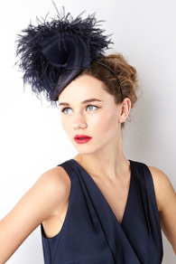 Ostrich Pom Hat - predominant colour: navy; occasions: occasion; type of pattern: standard; style: fascinator; size: standard; material: sinamay; embellishment: feather; pattern: plain