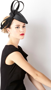 Side Bow Hat - predominant colour: black; occasions: occasion; type of pattern: standard; style: fascinator; size: standard; material: macrame/raffia/straw; embellishment: bow; pattern: plain
