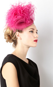 Ostrich Pom Hat - predominant colour: hot pink; occasions: occasion; type of pattern: standard; style: fascinator; size: standard; material: sinamay; embellishment: feather; pattern: plain