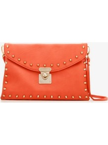 Bolt Studded Envelope Clutch - predominant colour: bright orange; occasions: casual, evening, occasion; type of pattern: standard; style: clutch; length: hand carry; size: standard; material: faux leather; embellishment: studs; pattern: plain; finish: plain