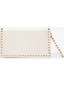 Studded Clutch W/ Wristlet Strap - predominant colour: ivory; occasions: evening, occasion; type of pattern: standard; style: clutch; length: hand carry; size: standard; material: faux leather; embellishment: studs; pattern: plain; finish: plain
