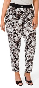 Rose Pattern Trousers - style: peg leg; waist: high rise; predominant colour: black; occasions: casual, evening, work, occasion, holiday; length: ankle length; fibres: polyester/polyamide - 100%; hip detail: fitted at hip (bottoms); texture group: silky - light; trends: high impact florals; fit: tapered; pattern type: fabric; pattern size: standard; pattern: florals