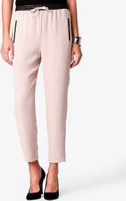 Crepe Joggers W/ Faux Leather Trim - pattern: plain; style: tracksuit pants; waist detail: belted waist/tie at waist/drawstring; waist: mid/regular rise; predominant colour: nude; occasions: casual, evening, work, holiday; length: ankle length; fibres: polyester/polyamide - 100%; trends: sporty redux; fit: straight leg; pattern type: fabric; pattern size: standard; texture group: other - light to midweight
