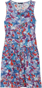 Printed Stretch Silk Blend Dress - style: shift; length: mid thigh; neckline: round neck; sleeve style: sleeveless; bust detail: added detail/embellishment at bust; waist detail: drop waist; predominant colour: royal blue; occasions: casual, evening, work, holiday; fit: fitted at waist & bust; fibres: silk - mix; sleeve length: sleeveless; texture group: silky - light; trends: high impact florals; pattern type: fabric; pattern size: big & busy; pattern: florals