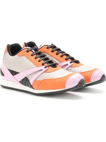 Trainer Leather Sneakers - predominant colour: bright orange; occasions: casual, holiday; material: leather; heel height: flat; toe: round toe; style: trainers; trends: sporty redux; finish: metallic; pattern: animal print
