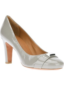 Brand Embellished Pump - predominant colour: mid grey; occasions: casual, work; material: leather; heel height: high; heel: block; toe: round toe; style: courts; finish: patent; pattern: plain
