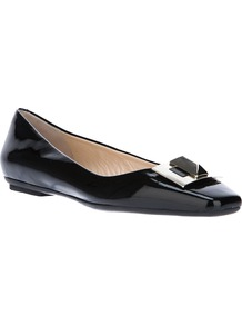 Embellished Pump - predominant colour: black; occasions: casual, work; material: leather; heel height: flat; toe: square toe; style: ballerinas / pumps; finish: patent; pattern: plain; embellishment: chain/metal