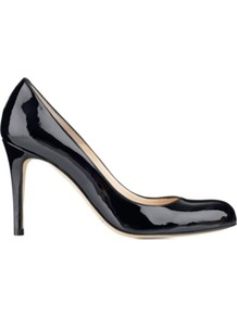 Shilo Mid Heel Leather Courts - predominant colour: black; occasions: evening, work; material: leather; heel height: high; heel: stiletto; toe: round toe; style: courts; finish: patent; pattern: plain