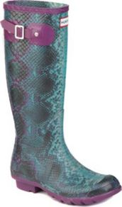 Carnaby Snake Print Wellies - predominant colour: purple; occasions: casual; material: plastic/rubber; heel height: flat; heel: standard; toe: round toe; boot length: knee; style: wellies; finish: patent; pattern: animal print