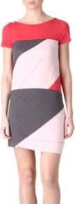 Tanya Dress - style: t-shirt; length: mid thigh; neckline: slash/boat neckline; secondary colour: blush; predominant colour: charcoal; occasions: casual, work; fit: body skimming; sleeve length: short sleeve; sleeve style: standard; pattern type: fabric; pattern size: big &amp; busy; pattern: patterned/print; texture group: jersey - stretchy/drapey; fibres: viscose/rayon - mix