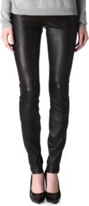 Leather Leggings - length: standard; pattern: plain; style: leggings; waist detail: elasticated waist; waist: mid/regular rise; predominant colour: black; occasions: casual, evening; fibres: leather - 100%; hip detail: fitted at hip (bottoms); texture group: leather; fit: skinny/tight leg; pattern type: fabric