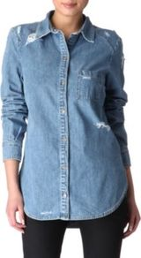 Eden Destructed Denim Shirt - neckline: shirt collar/peter pan/zip with opening; pattern: plain; length: below the bottom; style: shirt; predominant colour: denim; occasions: casual; fibres: cotton - 100%; fit: straight cut; sleeve length: long sleeve; sleeve style: standard; texture group: denim; pattern type: fabric