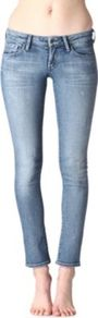 Racer Skinny Low Rise Jeans - style: skinny leg; pattern: plain; waist: low rise; pocket detail: traditional 5 pocket; predominant colour: denim; occasions: casual; length: ankle length; fibres: cotton - stretch; jeans detail: whiskering, washed/faded; texture group: denim; pattern type: fabric