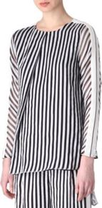 Latte Striped Top - pattern: pinstripe; bust detail: ruching/gathering/draping/layers/pintuck pleats at bust; secondary colour: white; predominant colour: black; occasions: work, occasion; length: standard; style: top; fibres: silk - mix; fit: body skimming; neckline: crew; back detail: longer hem at back than at front; sleeve length: long sleeve; sleeve style: standard; texture group: crepes; trends: striking stripes; pattern type: fabric; pattern size: small &amp; busy