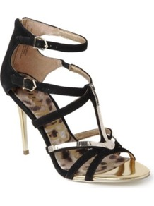 Alena Suede Cage Sandals - predominant colour: black; occasions: evening, occasion, holiday; material: suede; heel height: high; ankle detail: ankle strap; heel: stiletto; toe: open toe/peeptoe; style: strappy; trends: metallics; finish: metallic; pattern: plain; embellishment: chain/metal
