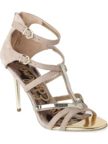 Alena Suede Cage Sandals - predominant colour: stone; occasions: evening, occasion, holiday; material: suede; heel height: high; ankle detail: ankle strap; heel: stiletto; toe: open toe/peeptoe; style: strappy; finish: plain; pattern: plain; embellishment: chain/metal