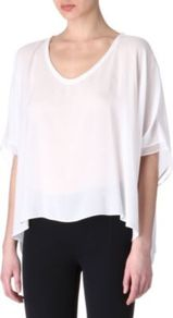 Sheer Top - neckline: v-neck; pattern: plain; predominant colour: white; occasions: casual, evening; length: standard; style: top; fibres: viscose/rayon - 100%; fit: loose; sleeve length: 3/4 length; sleeve style: standard; texture group: sheer fabrics/chiffon/organza etc.; pattern type: fabric