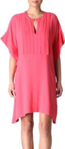 Naz Tunic Dress - style: tunic; fit: loose; pattern: plain; bust detail: ruching/gathering/draping/layers/pintuck pleats at bust; predominant colour: pink; occasions: casual, evening, work, occasion, holiday; length: just above the knee; neckline: peep hole neckline; shoulder detail: flat/draping pleats/ruching/gathering at shoulder; sleeve length: short sleeve; sleeve style: standard; texture group: silky - light; pattern type: fabric; fibres: viscose/rayon - mix