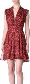 Feline Wonder Dress - style: empire line; length: mid thigh; neckline: low v-neck; sleeve style: capped; fit: empire; waist detail: wide waistband/cummerbund; bust detail: ruching/gathering/draping/layers/pintuck pleats at bust; predominant colour: true red; secondary colour: black; occasions: evening, occasion, holiday; fibres: polyester/polyamide - 100%; hip detail: soft pleats at hip/draping at hip/flared at hip; shoulder detail: flat/draping pleats/ruching/gathering at shoulder; sleeve length: short sleeve; texture group: sheer fabrics/chiffon/organza etc.; trends: statement prints; pattern type: fabric; pattern size: small & busy; pattern: animal print