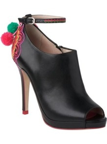 Orchid Leather Shoe Boots - predominant colour: black; occasions: evening, work; material: leather; heel height: high; heel: platform; toe: open toe/peeptoe; boot length: shoe boot; style: standard; finish: plain; pattern: plain; embellishment: pompom
