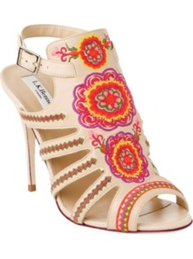 Tacca Leather Cage Sandals - predominant colour: ivory; occasions: evening, occasion, holiday; material: leather; heel height: high; embellishment: embroidered; ankle detail: ankle strap; heel: stiletto; toe: open toe/peeptoe; style: strappy; trends: high impact florals, fluorescent; finish: fluorescent; pattern: patterned/print