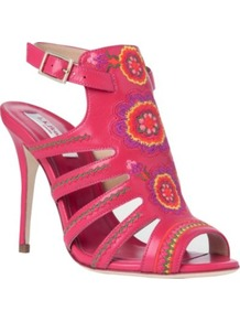 Tacca Leather Cage Sandals - predominant colour: hot pink; occasions: evening, occasion, holiday; material: leather; heel height: high; embellishment: embroidered; ankle detail: ankle strap; heel: stiletto; toe: open toe/peeptoe; style: strappy; trends: high impact florals, fluorescent; finish: fluorescent; pattern: patterned/print