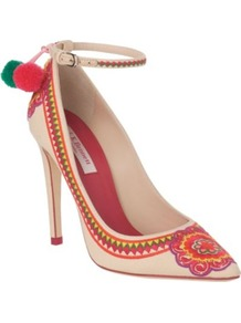 Parrot Canvas Courts - predominant colour: blush; occasions: evening, work, occasion, holiday; material: fabric; heel height: high; ankle detail: ankle strap; heel: stiletto; toe: pointed toe; style: courts; finish: plain; pattern: patterned/print; embellishment: pompom